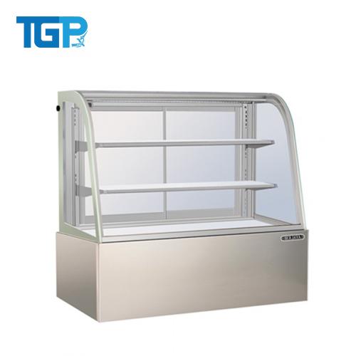 Tủ trưng bày bánh kính cong viền trắng 1800mm 2 ngăn