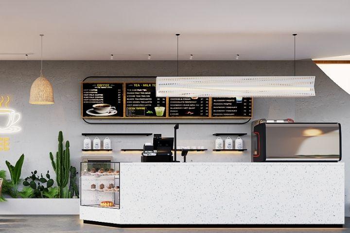 Thiết kế quầy bar cafe đơn giản bằng đá