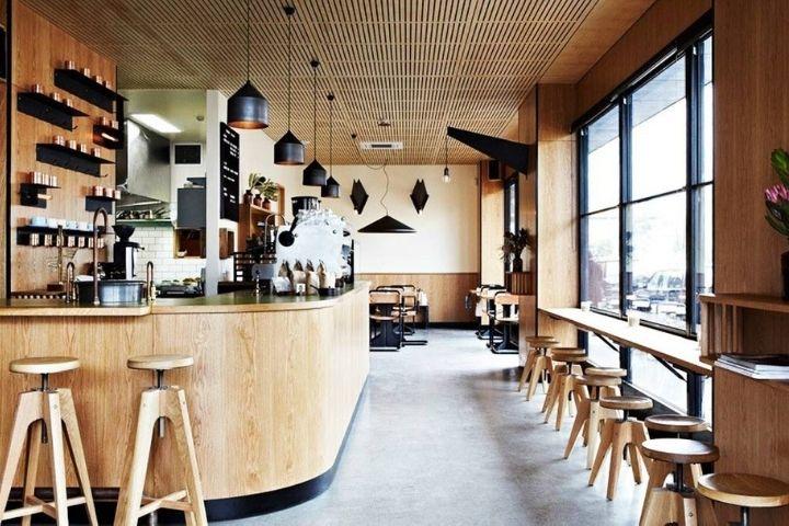Thiết kế quầy bar quán cà phê bằng gỗ