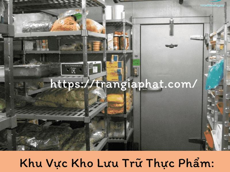 Khu vực kho lưu trữ thực phẩm