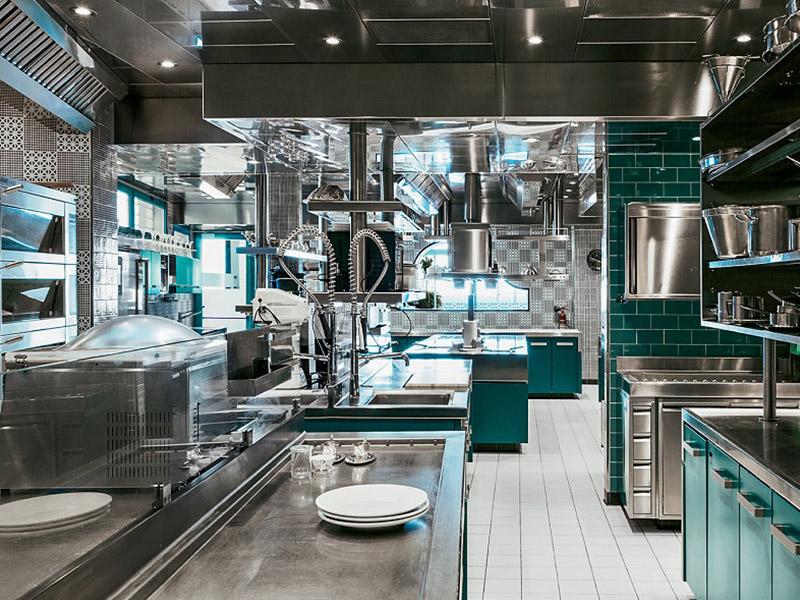 Mẫu thiết kế bếp nhà hàng theo kiểu phân khu