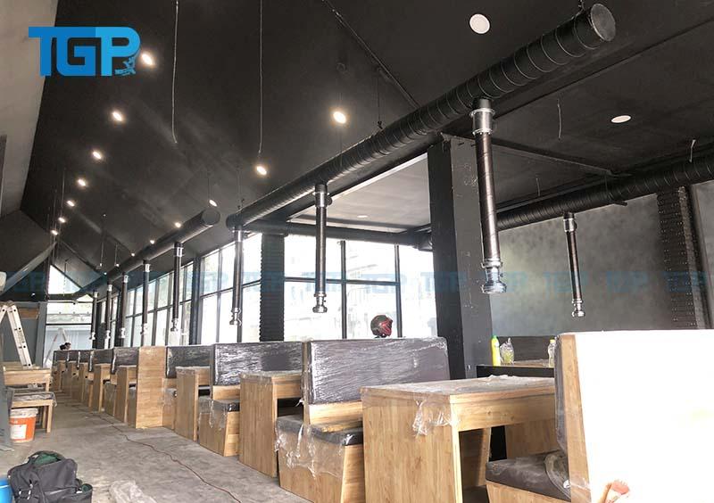Hệ thống hút khói tại bàn, hút khói công nghiệp nhà hàng Subin BBQ